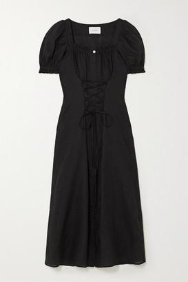 Sleeper Marquise Lace-up Linen Midi Dress - Black