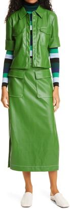 STAUD Burn Faux Leather Midi Skirt