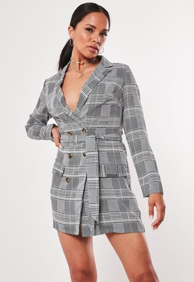Missguided Grey Heritage Check Blazer Dress