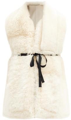 Ann Demeulemeester Tie-waist Shearling Gilet - White Multi