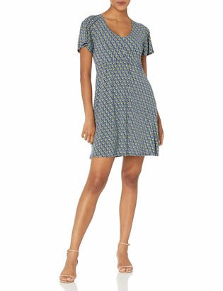 Lark & Ro Women's Lightweight Kimono Short Sleeve Smocked Waist Dress with Pockets