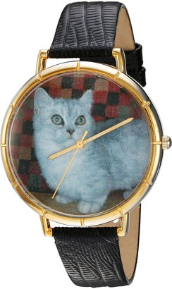 Whimsical Watches Munchkin Cat Black Leather and Goldtone Photo Unisex Quartz Watch with White Dial Analogue Display and Multicolour Leather Strap N-0120047