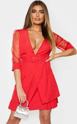 PrettyLittleThing Red Organza Sleeves Pleated Skirt Bodycon Dress