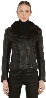 Belstaff Danescroft Leather & Fur Biker Jacket