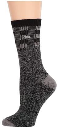 Sorel Buffalo Plaid Block Wool Crew (Black) Women's Crew Cut Socks Shoes