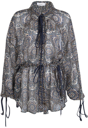 Chloé Printed Silk Chiffon Drawstring Detail Long Sleeve Sheer Blouse M