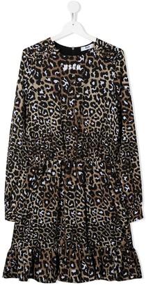 Msgm Kids Leopard-Print Flared Dress