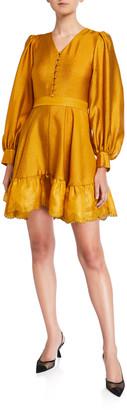 Stine Goya Farrow Belted Blouson-Sleeve Flounce Dress