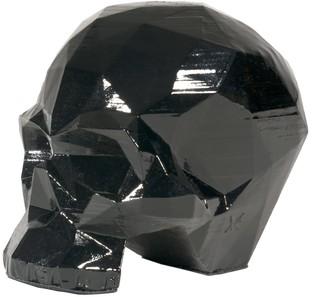Marokka Design Skull Sculpture - Geometric Design - Yorick Metallic Black