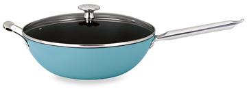 "Mario Batali Mario Light"" 12-Inch Enameled Cast Iron Covered Stir Fry Pan - Turquoise"