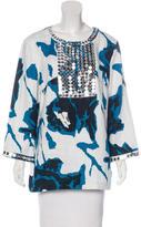 Tory Burch Embellished Linen Tunic