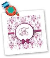 3dRose LLC qs_164816_5 Charlyn Woodruff - CW Designs Monogram Hearts - Elegant Pink and Silver Heart Damask Monogram Letter E - Quilt Squares