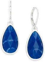 Nine West Silver-Tone Blue Stone Teardrop Earrings