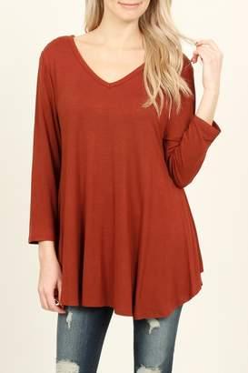 Riah Fashion 3/4 Sleeve V-Neck-Flared-Top