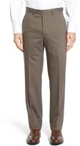 Santorelli Men's Flat Front Check Stretch Wool Trousers