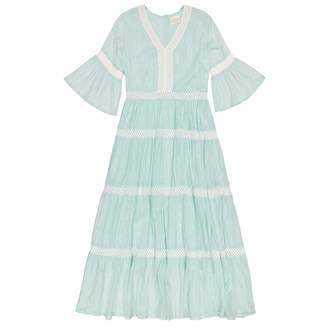 Masala Baby Women's Mara Dress Metallic Stripe Aqua S