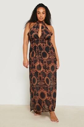 boohoo Plus Gemma Collins Chain Print Maxi Beach Dress
