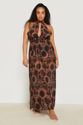 boohoo Plus Gemma Collins Chain Print Maxi Beach Dress