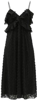 Zimmermann Ruffled Chiffon Midi Dress - Black