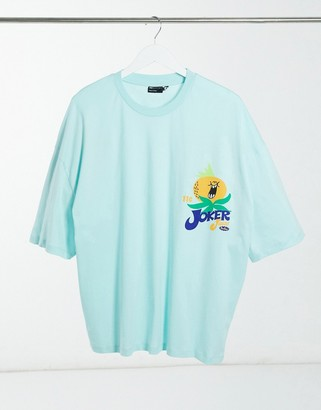ASOS DESIGN oversized t-shirt with fruit chest print in blue