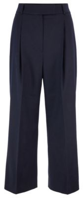 HUGO BOSS Relaxed Fit Cropped Pants In Stretch Wool - Open Blue