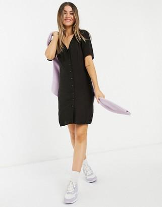 Monki Winona button through mini dress in black