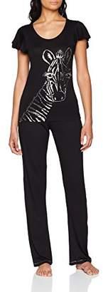 Boux Avenue Women's FOIL Zebra TEE and Pant Pyjama Sets, Black Mix Bx, 6