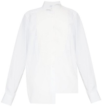 Loewe Asymmetric Bib-front Cotton-blend Shirt - White