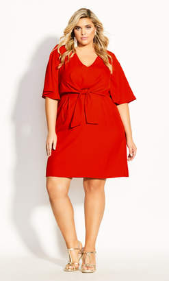 City Chic Knot Front Dress - red