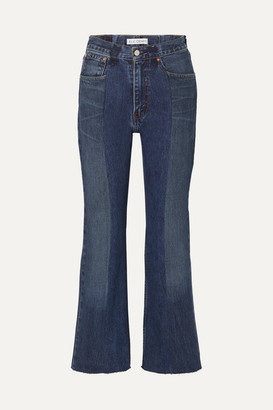 E.L.V. Denim - Net Sustain The Twin Cropped Two-tone Distressed High-rise Flared Jeans - Mid denim