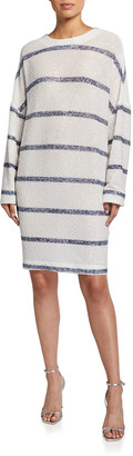 In The Mood For Love Alexandra Sequined Striped Dress