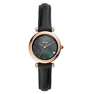Fossil Women's Mini Carlie Stainless Steel Quartz Watch with Leather Strap