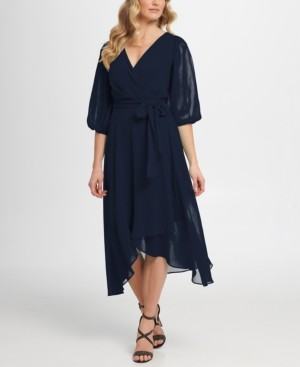 DKNY Balloon Sleeve V-Neck Wrap Dress