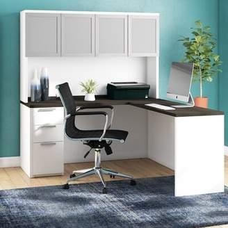 Comm Office Kadian Contemporary Reversible L-Shape Corner Desk with Hutch Comm Office