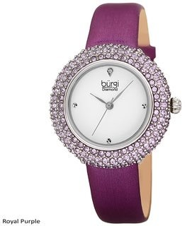 Burgi Ladies Vibrant Colorful Swarovski Crystal Diamond Satin Leather Strap Watch