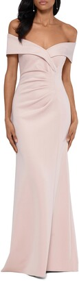 Xscape Evenings Off the Shoulder Scuba Crepe Gown