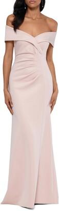 Xscape Evenings Off the Shoulder Scuba Crepe Gown