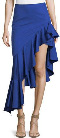 Alexis Cameo Asymmetric Ruffle High-Low Cotton Skirt