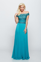 Milano Formals - Embellished Off-Shoulder Chiffon Evening Gown E2094