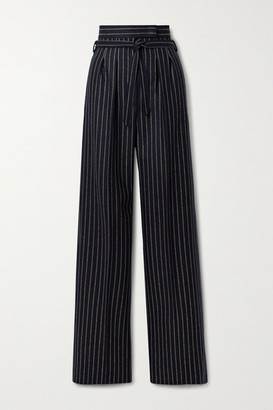 Max Mara Samba Belted Pinstriped Wool And Cashmere-blend Wide-leg Pants - Midnight blue