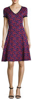 St. John Aziza Zigzag Jacquard V-Neck Dress, Red/Black
