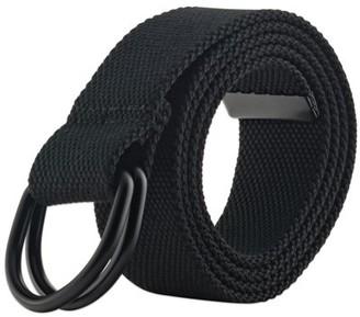 "E Living Store E-Living Store Men's and Women's Canvas D-Ring Belts, Black, XX-Large (Waist Size 48-51"")"