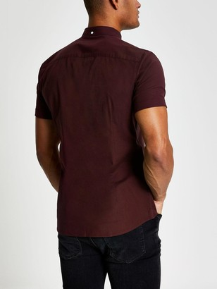 River Island Short SleeveOxford Shirt - Berry