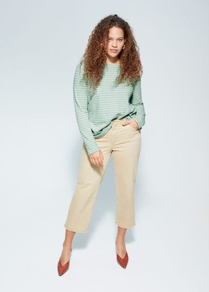 MANGO Violeta BY Buttoned striped T-shirt sky blue - S - Plus sizes