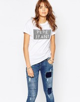 Pepe Jeans Logo T-Shirt With Flock Detail