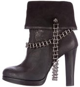 Thomas Wylde Chain-Link Leather Ankle Boots