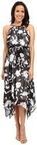 Sangria Floral Print Chiffon Midi Dress w/ Hardware