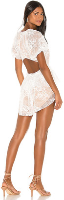 For Love & Lemons Verbena Lace Tiered Mini Dress