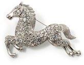 Avalaya Clear Crystal Galloping Horse Brooch ( Tone)