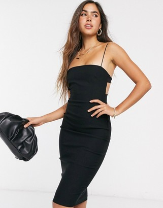 Vesper strappy midi dress with open back in black